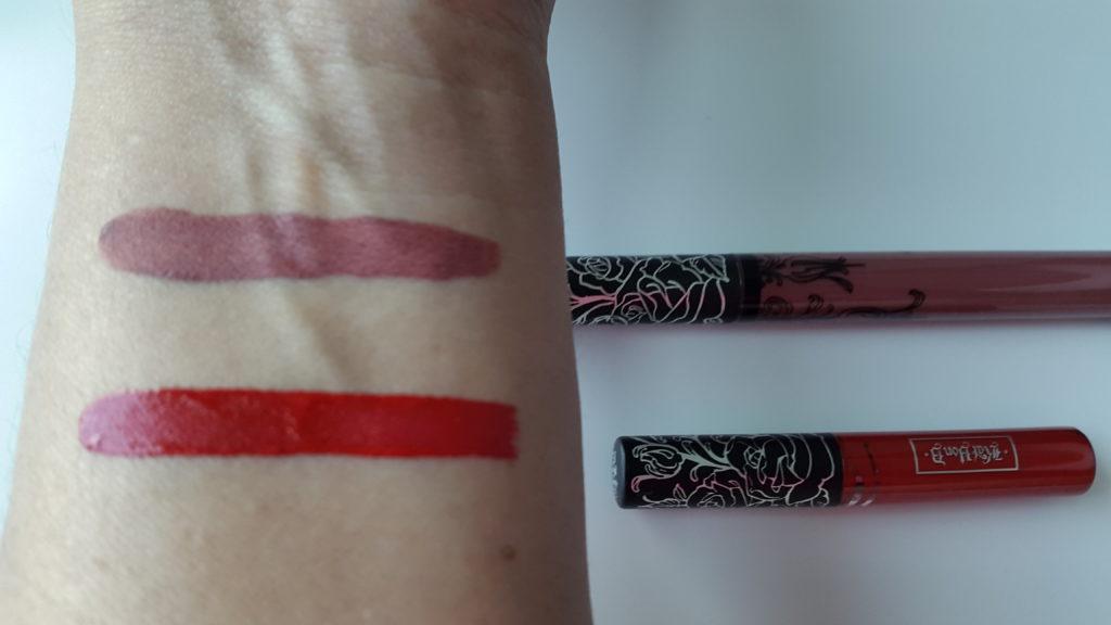 Kat Von D Everlasting Liquid Lipstick - Lolita and Outlaw swatches