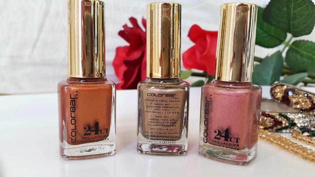 Colorbar 24 Carat Nail Lacquer - 009 Brick Gold, 001 Liquid Gold, 004 Pinken Gold