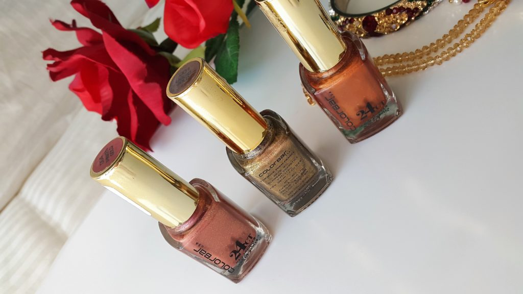 Colorbar 24 Carat Gold Nail Lacquer - Brick Gold, Pinken Gold, Liquid Gold