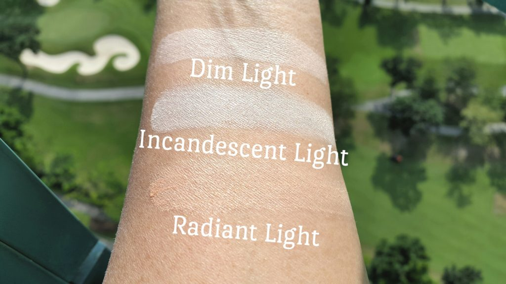 Hourglass Ambient Lighting Palette Swatches in bright sunlight