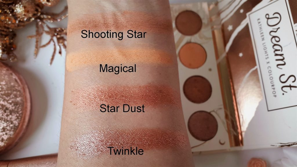 Kathleenlights X Colourpop Eyeshadow Palette - Swatches of top row