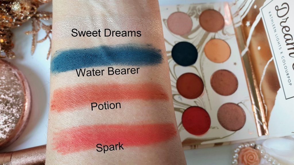 Kathleenlights X Colourpop Dream St Eyeshadow Palette - Close Swatches of second row