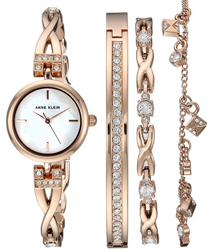 Anne Klein Women S Swarovski Crystal Accented Rose Gold Tone