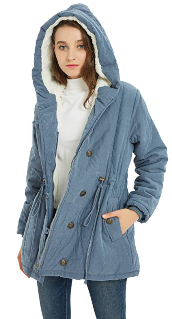 French Connection Womens Faux Fur Wool Four-Pocket w//Hood